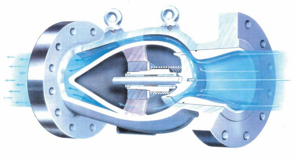 Billedet her er en grafisk illustration af en kontraventil (afspærringsventil) set indefra
