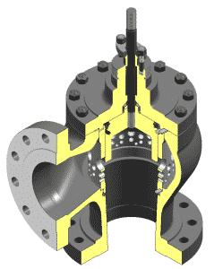 Billedet er en grafisk illustration af en BV500 reguleringsventil set indefra