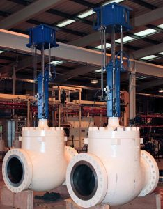 This is two white control valves