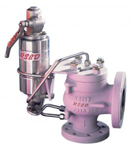 This is a pink pilot operated safety valve