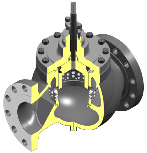 This is a graphical illustration of a BV500 control valve seen from the inside